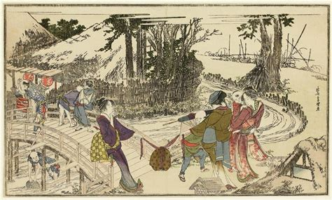 hokusai a life in women walking in a garden 1798 katsushika hokusai wikiart org