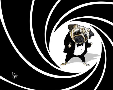 Dog Duvet James Bond Pug Caricature Art Print Drawing By John Lafree