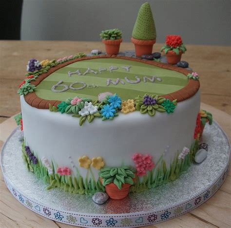 60th Garden Cake Garden Cakes Cake And Birthday Cakes Flower Garden Cake Ideas