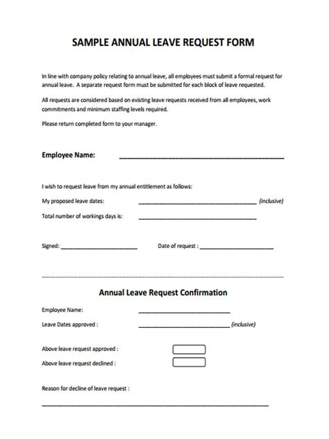 leave request forms ms word excel
