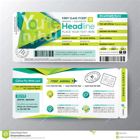 Boarding Pass Place Card Template by Abstract Polygon Design Boarding Pass Event Ticket Invite