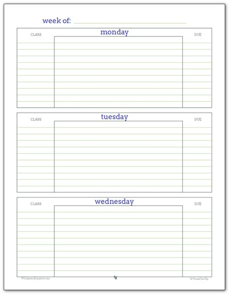 printable student weekly planner template getting ready for back to school student planner printables