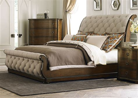 cotswold queen upholstered sleigh bed  liberty  br qsl coleman furniture