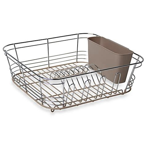bed bath and beyond dish rack omni small chrome dipped dish drainer in chagne bed