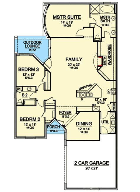 zero lot line narrow house plan 36411tx 1st floor