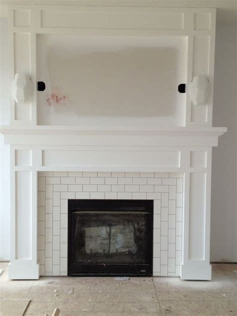 tiling around a fireplace subway tile fireplace surround flourish design style