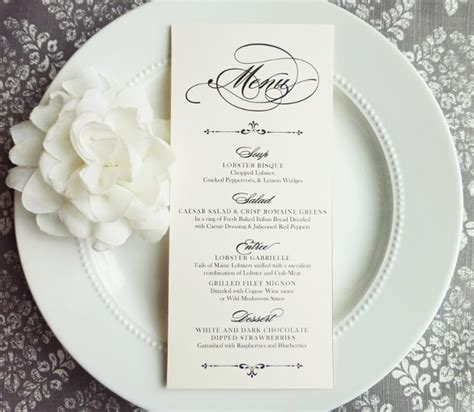 37 wedding menu template free sle exle format