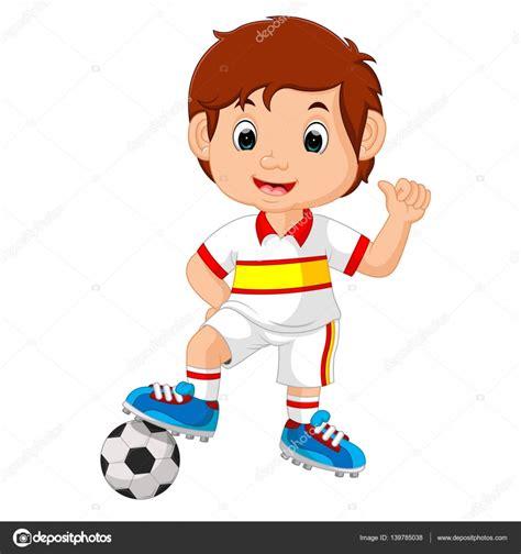 imagenes niños jugando al futbol dibujos animados de ni 241 o jugando al f 250 tbol vector de