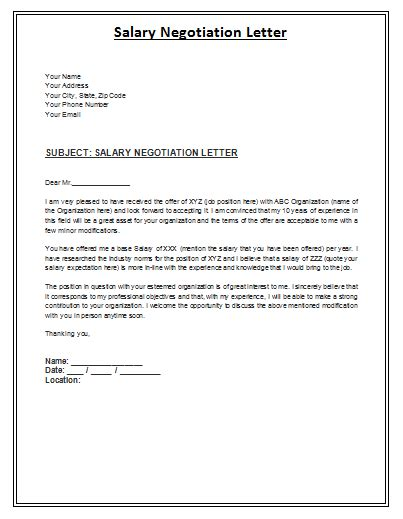 negotiation letter sample for contracts salary negotiation letter