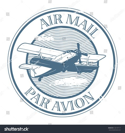 air mail rubber st grunge rubber st with plane and the text air mail par