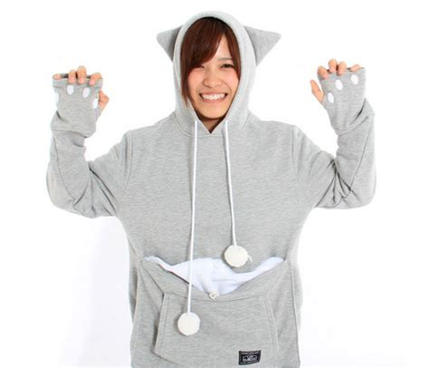 hoodie with pouch cat hoodie with kangaroo pouch lets you take your pet wherever you go bored panda