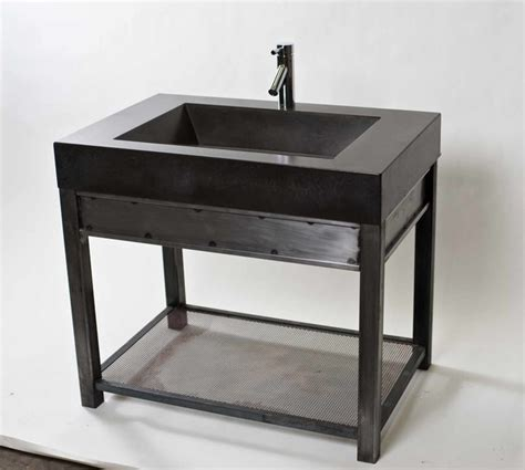 Steel Bathroom Vanity Steel Vanity With Charcoal Concrete Sink Modern Bathroom Vanities And Sink Consoles Other