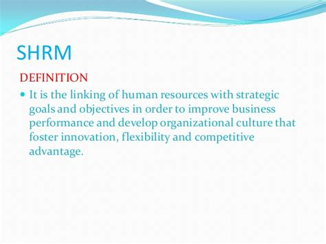Shrm Notes For Mba by Strategic Hrm Approaches