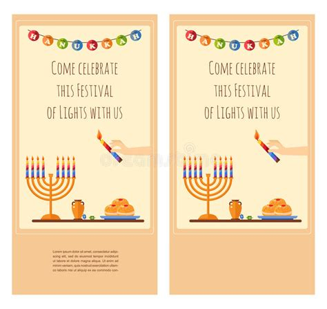 hanukkah greeting card template happy hanukkah greeting card design snowing stock vector