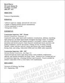 superintendent resume sle resume civil supervisor
