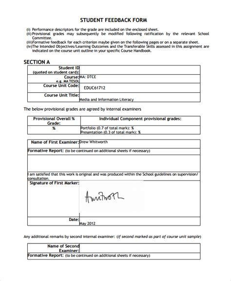 sle students feedback form 9 free documents download