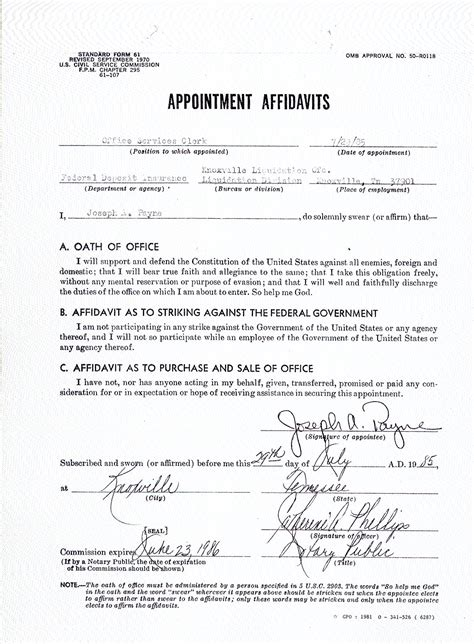 Appointment Letter 1 Year Contract Appointment Affidavit From 1985 Federal Deposit Insurance Corporation