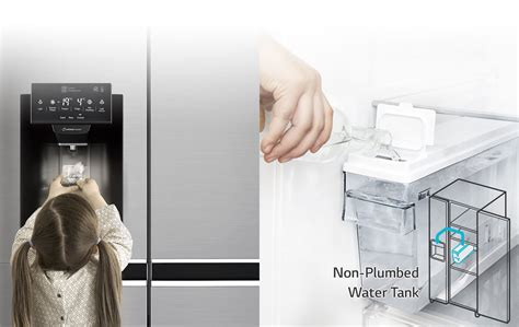 Fridge With Water Dispenser No Plumbing by Lg Gs L668pnl Side By Side Fridge With Water