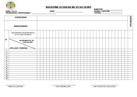 formato de registro auxiliar con rutas de aprendizaje registro auxiliar de evaluacin inicial