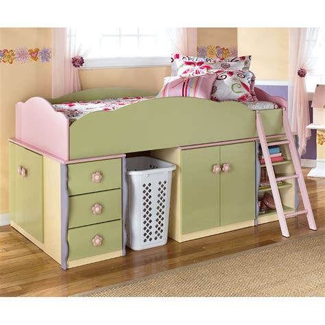 signature design dollhouse loft bed doll house open space loft bed w drawers and door storage