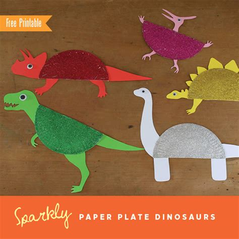 Paper Dinosaur Craft - sparkly paper plate dinosaurs by the craft