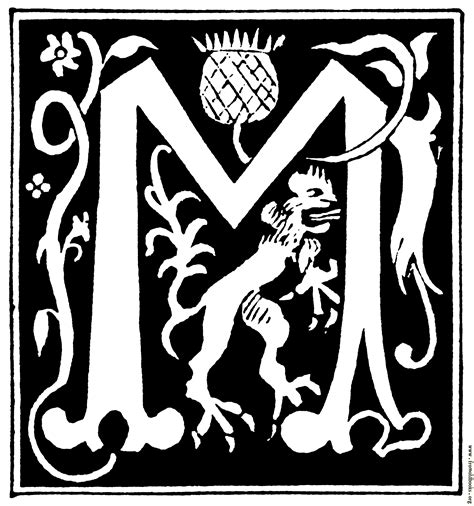 Initial M decorative initial letter m from 16th century