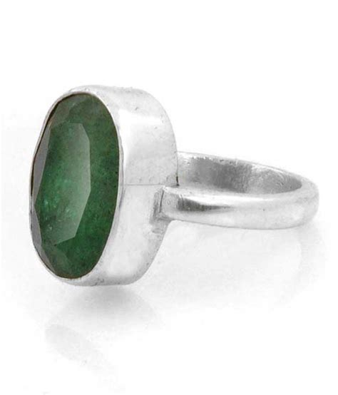barish gems emerald panna silver ring buy barish gems