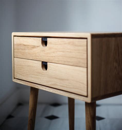 century lade mid century moderne eiken nachtkastje met dubbele lades