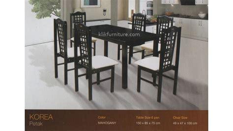 Meja Makan Kayu 6 Kursi meja makan kayu knockdown 6 kursi kotak korea