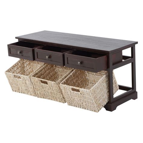 bench basket storage homcom 40 3 drawer 3 basket storage bench cherry brown