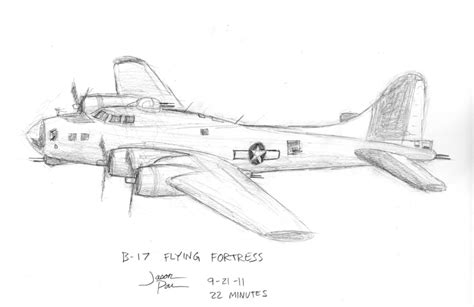 B 17 Sketches how to draw a boeing b17 bomber easy step by step for