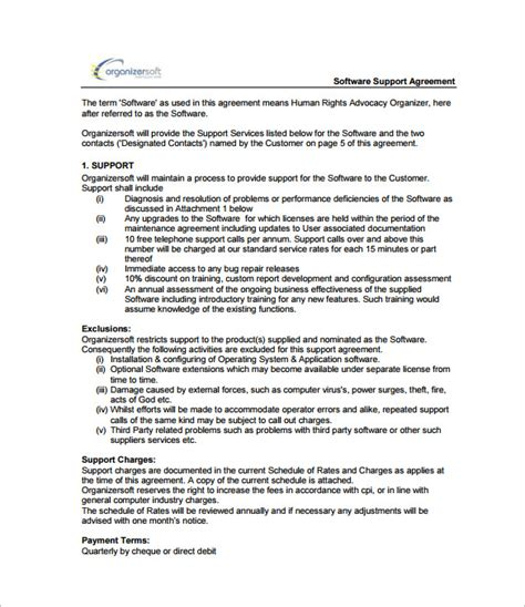 software agreement template it support contract template 9 documents in