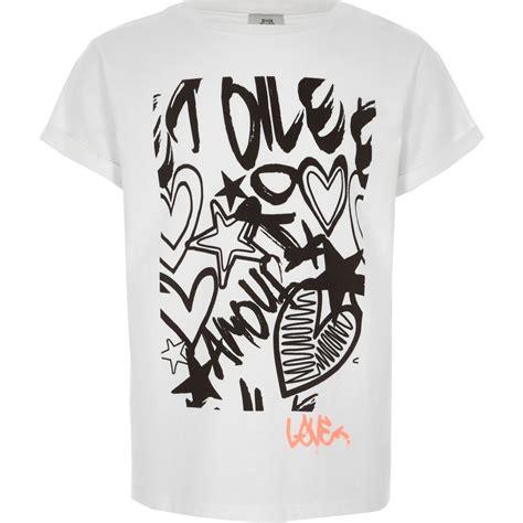 White Graffiti Shirt by White Graffiti Print T Shirt T Shirts Tops