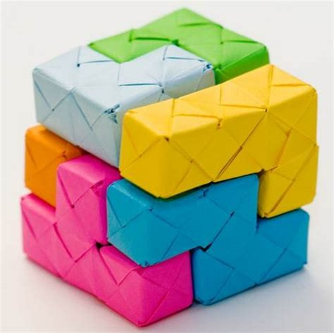 Folded Paper Craft - tetris origami paper craft origami origami