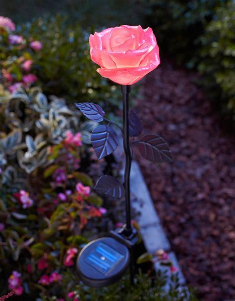 solar flower garden lights moonrays 91405 solar powered led flower stake light pink