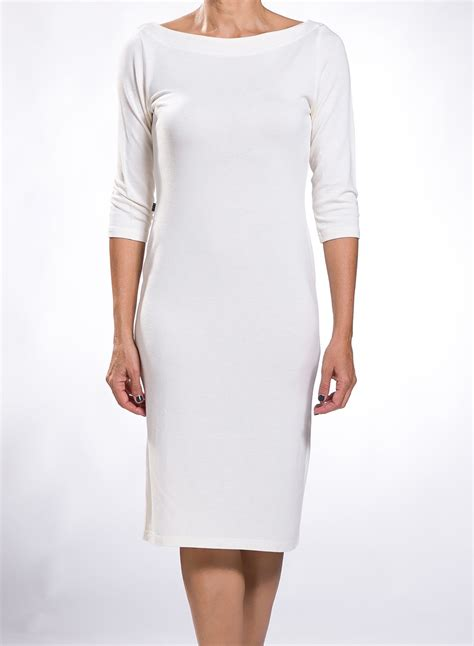 dress boat neck midi 3 4 sleeves wool viscoze - Boat Neck Dress With 3 4 Sleeves