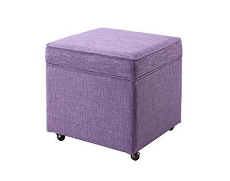 ottoman legs with casters iconic home george modern purple linen square storage