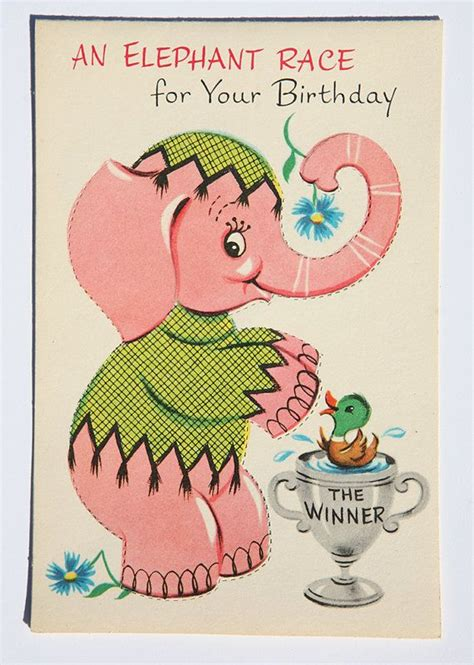 printable birthday cards elephant vintage elephant birthday card sam the pink elephant and