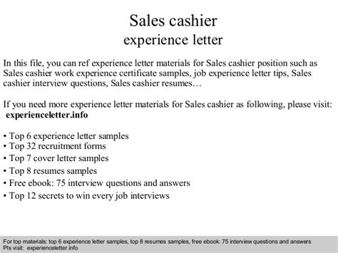 sales cashier experience letter