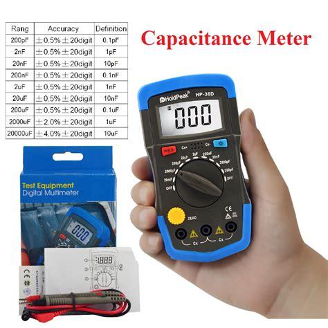 pf capacitor tester holdpeak hp 36d mini capacitance meter digital capacitor tester pf mf data hold back light
