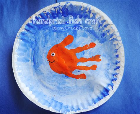 Fish Paper Plate Craft - handprint fish craft