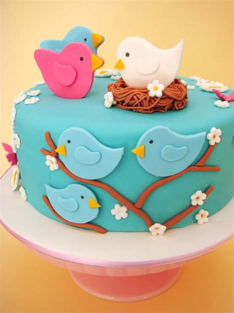 butter hearts sugar nesting birds baby shower cake and