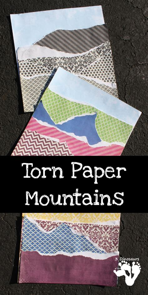newspaper theme for preschool torn paper mountains 3 dinosaurs