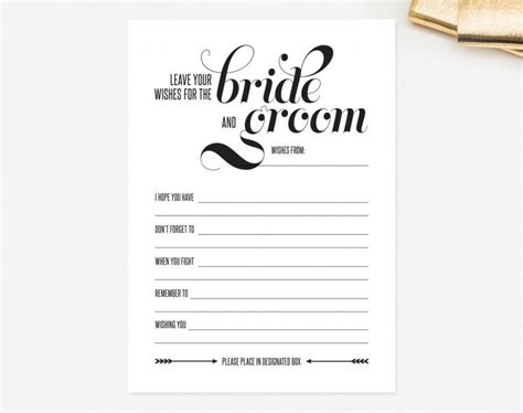 marriage advice cards templates wedding mad libs card leave your wishes for the and groom advice printable template