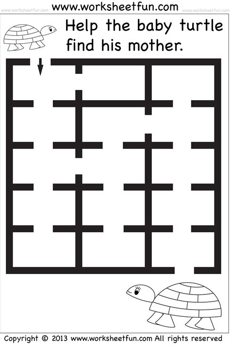 printable preschool worksheets mazes beginner mazes preschool and kindergarten 6 worksheets