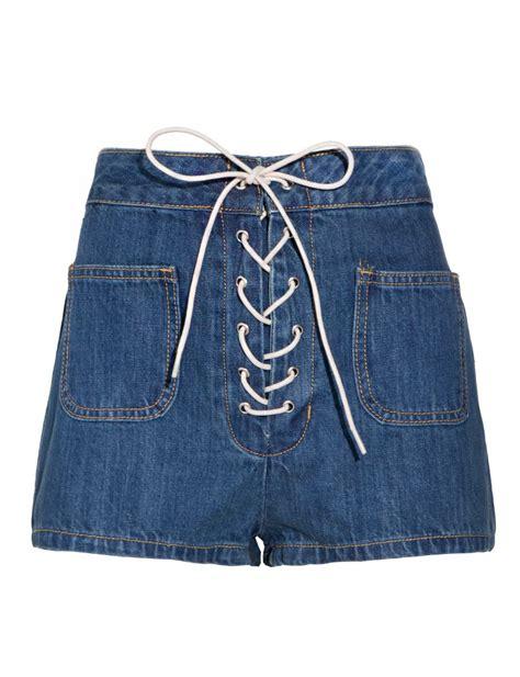 lace up denim shorts pixie market lace up denim shorts in blue denim lyst