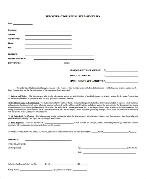 Loan Waiver Letter Subcontractor Lien Release Form Sle Subcontractor Lien Release Form Sle Forms
