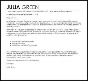 server cover letter restaurant server cover letter sle livecareer