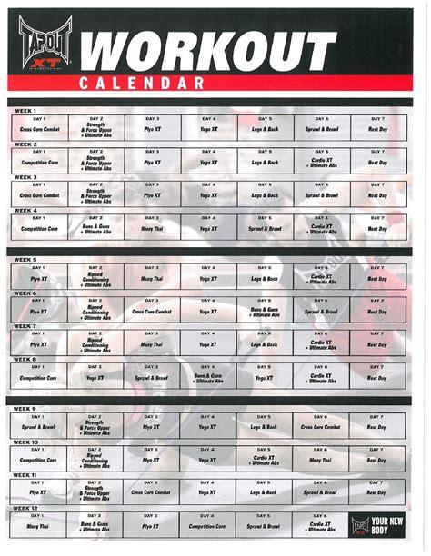 tapout xt workout calendar active health calendario de ejercicios programa de