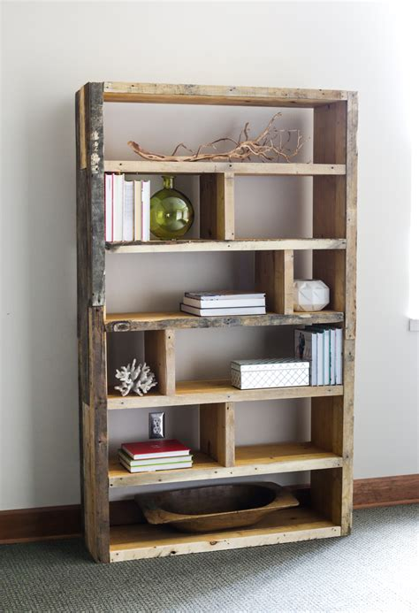 reclaimed wood bookshelf pine